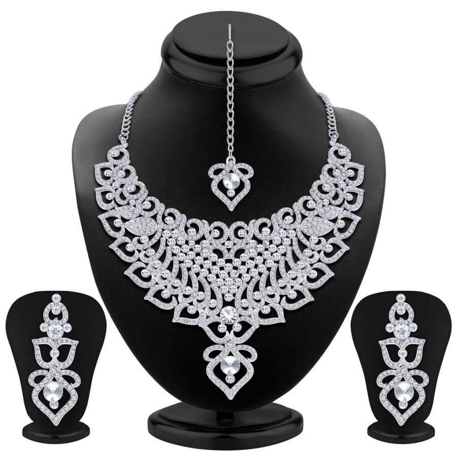 Buy Sukkhi Shimmering Rhodium Plated AD Necklace Set Online