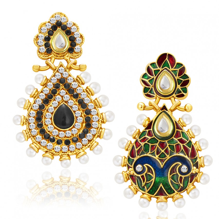 Buy Sukkhi Magnificent Gold Plated AD Reversible Earring For Women Online
