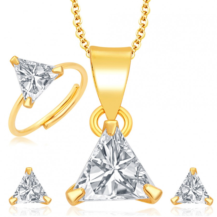 Buy Pissara Sleek Gold and Rhodium Plated CZ Pendant Set - Ring Combo For Women Online
