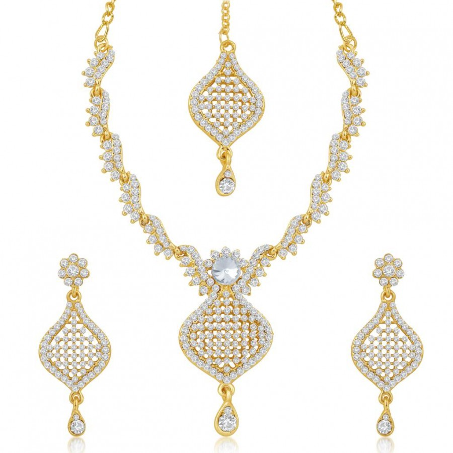 Buy Sukkhi Briliant Gold Plated Australian Diamond Stone Studded Necklace Set Online