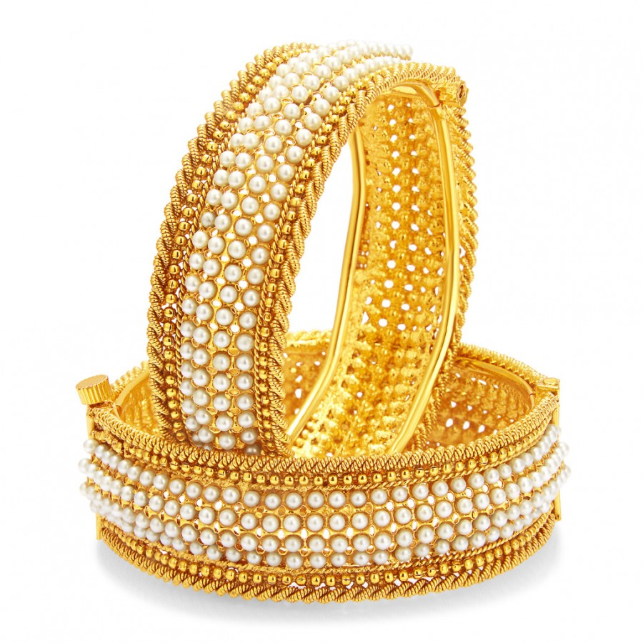 Buy Sukkhi Marvellous Gold Plated Pearl Bangle For Women Online