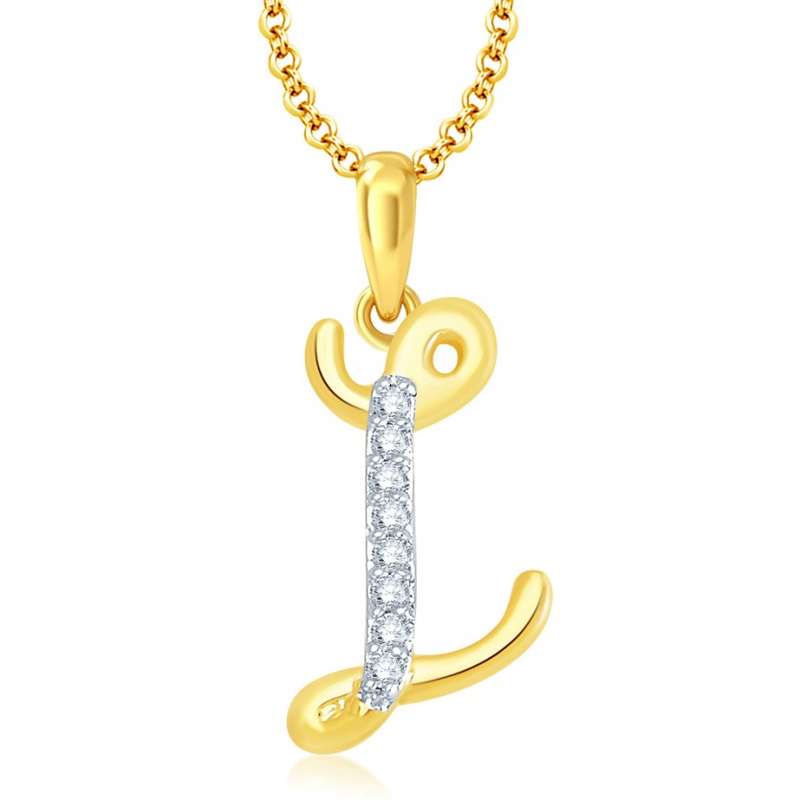 "Buy Pissara Letter"" L"" Gold and Rhodium Plated CZ Alphabet Pendant Online"