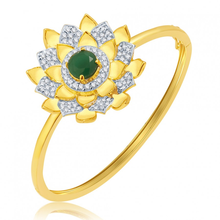 Buy Pissara Longevity Gold And Rhodium Plated Emerald CZ Kada For Women Online
