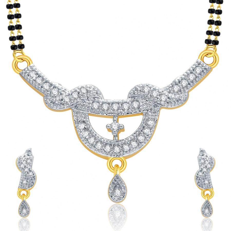 Buy Pissara Lustrous Gold And Rhodium Plated CZ Mangalasutra Set For Women Online