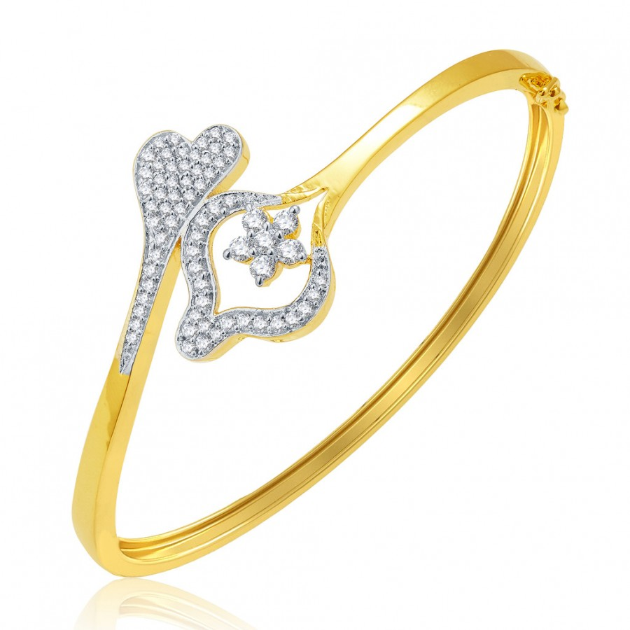 Buy Pissara Giddy Gold And Rhodium Plated CZ Kada For Women Online