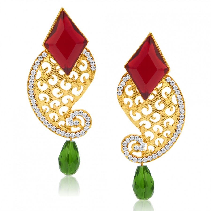 Buy Sukkhi Fine Peacock Gold Plated AD Earring For Women Online