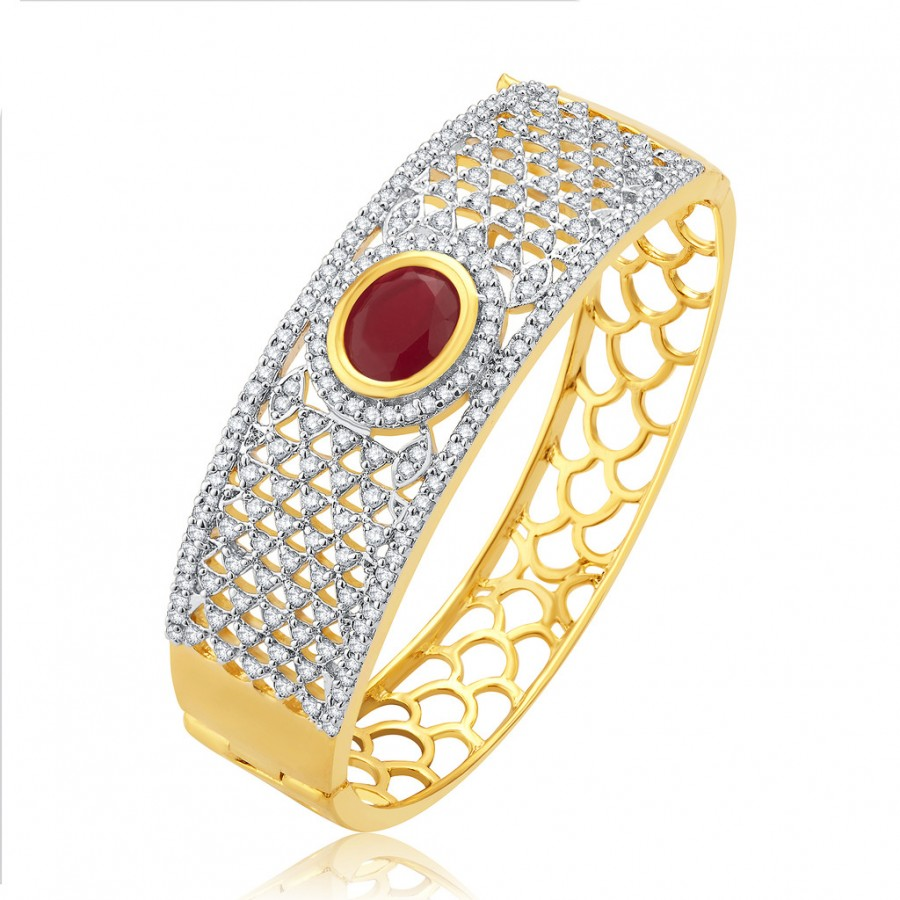 Buy Pissara Passionate Gold And Rhodium Plated Ruby CZ Kada For Women Online
