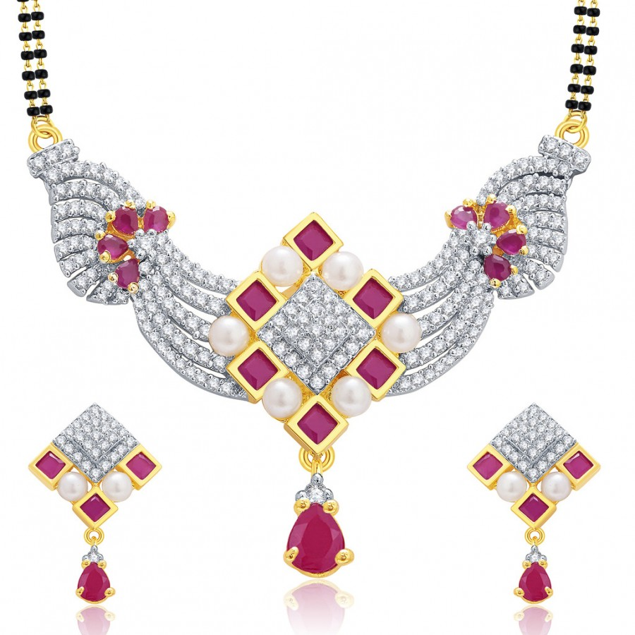 Buy Pissara Pleasing Gold And Rhodium Plated Ruby CZ Mangalasutra Set For Women Online