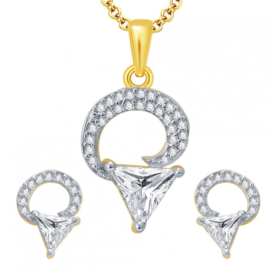 Buy Pissara Glorious Gold And Rhodium Plated CZ Pendant Set For Women Online