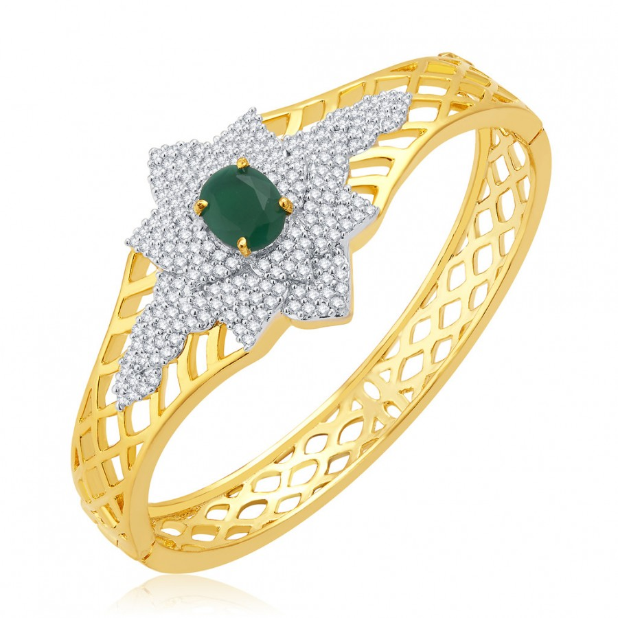 Buy Pissara Fantasies Gold And Rhodium Plated Emerald CZ Kada For Women Online