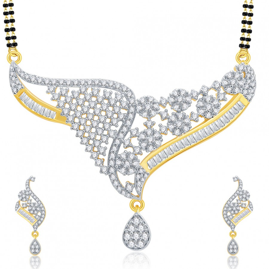 Buy Pissara Engrossing Gold And Rhodium Plated CZ Mangalasutra Set For Women Online