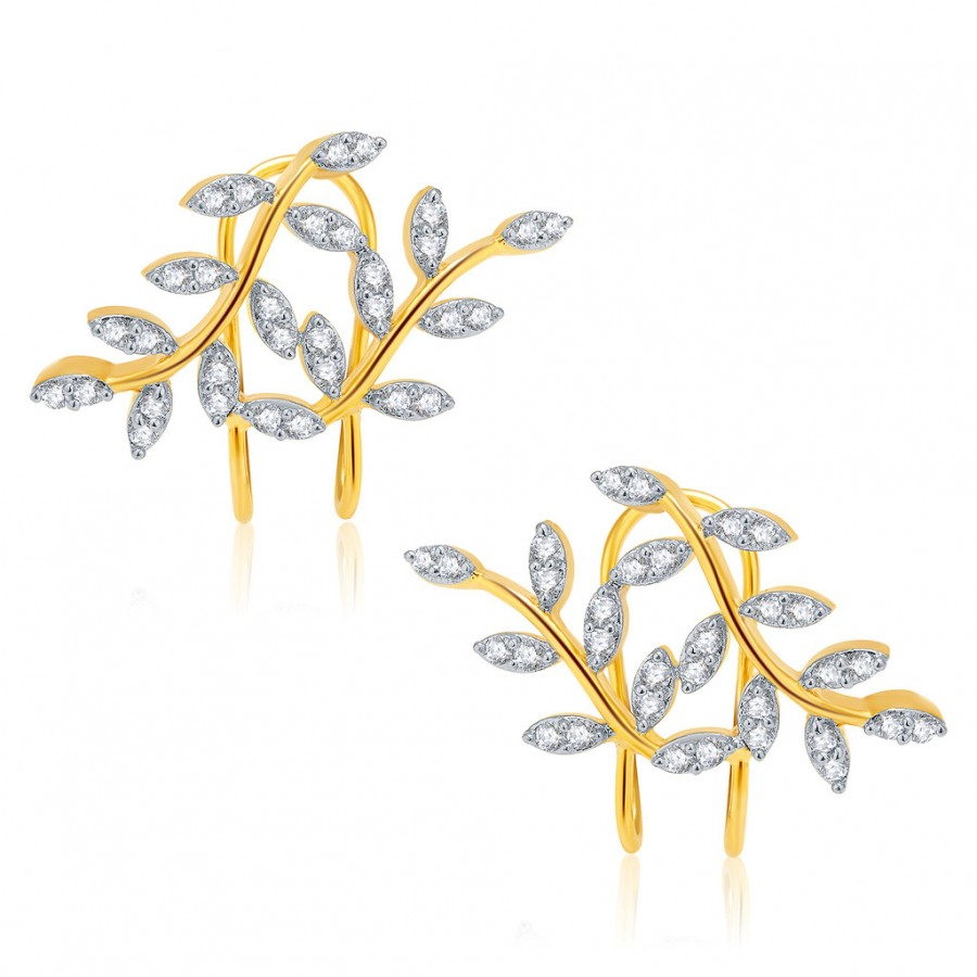 Buy Pissara Lustrous Gold And Rhodium Plated CZ Earcuff For Women Online