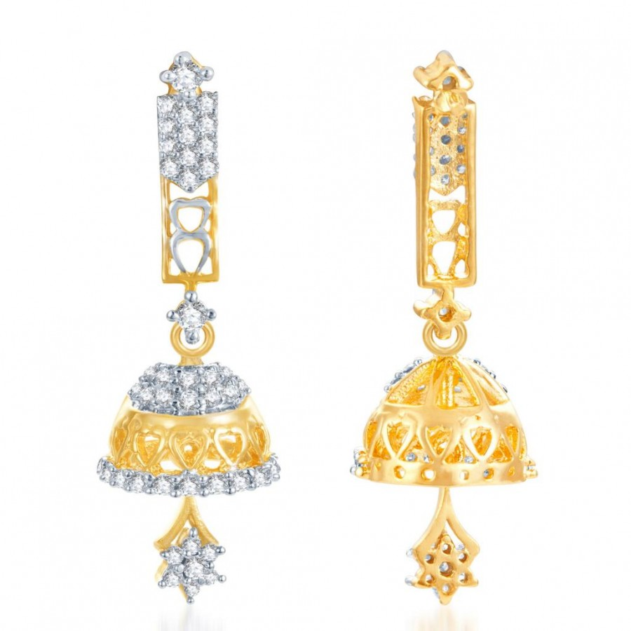 Buy Pissara Estonish Gold and Rhodium Plated CZ Jhumki Online