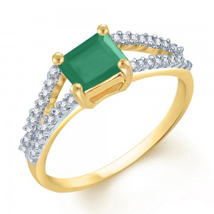 Buy Sukkhi Glistening Gold and Rodium plated CZ Studded Emerald Ring Online