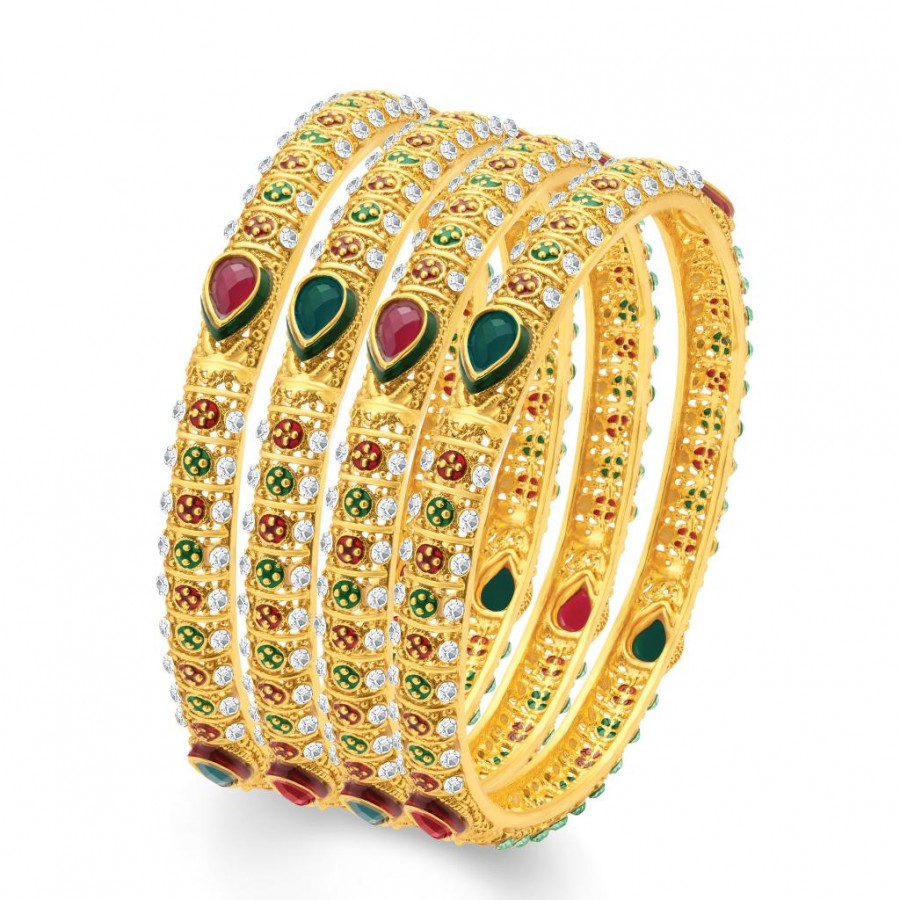 Buy Sukkhi Sublime Gold Plated Traditional Set of 4 Bangles for Women Online