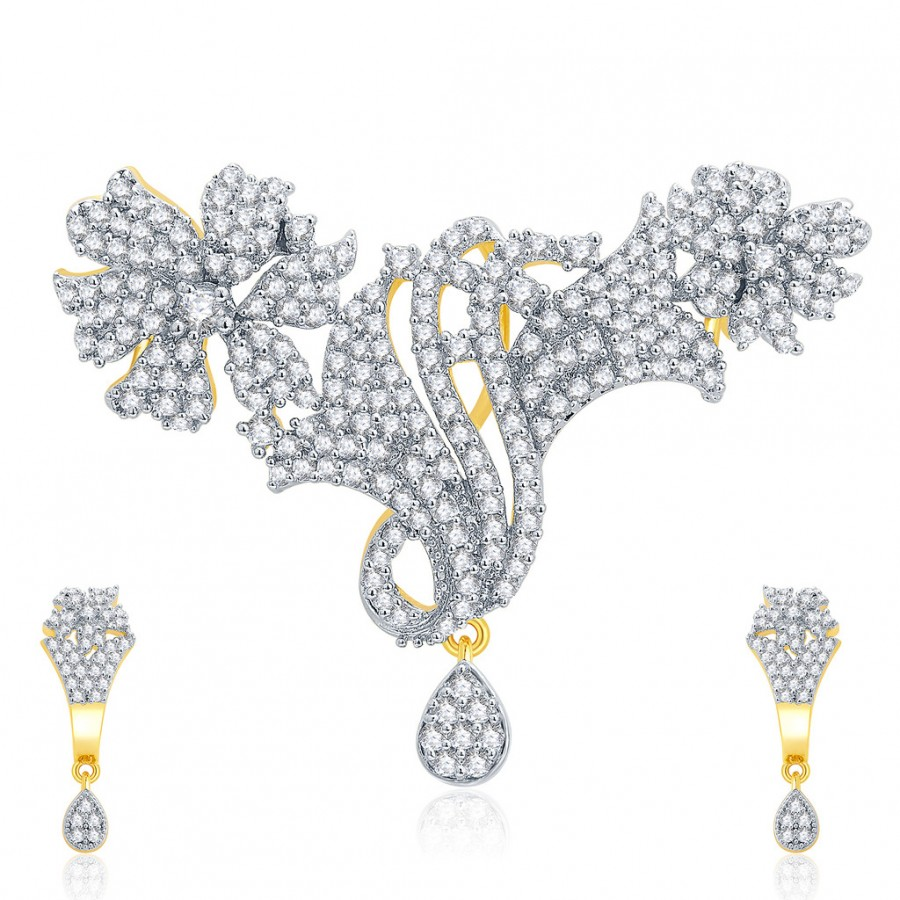 Buy Pissara Intricate Gold And Rhodium Plated CZ Pendant Set For Women Online