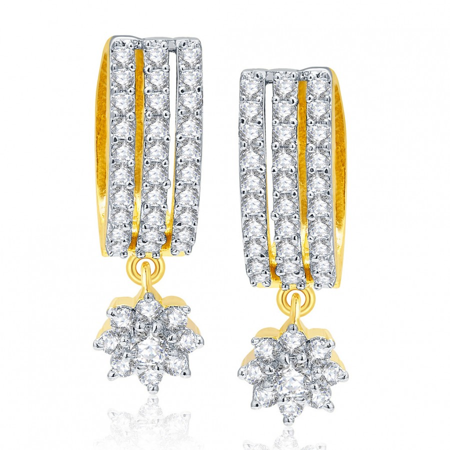Buy Pissara Splendid Gold And Rhodium Plated CZ Earrings For Women Online