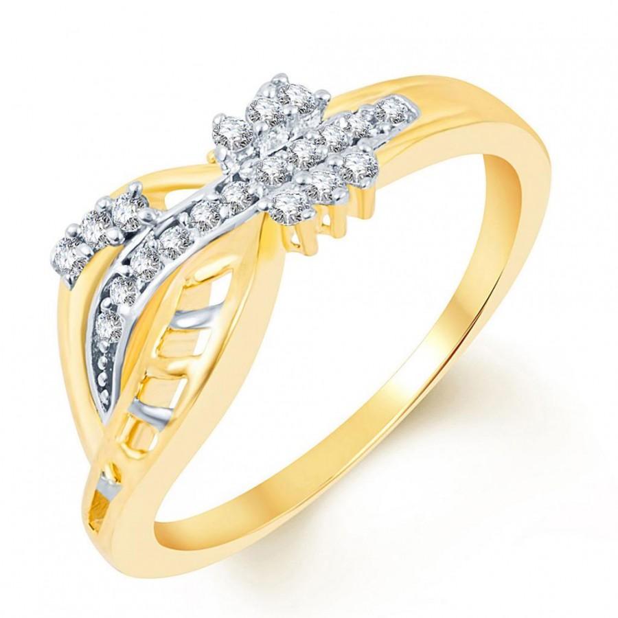 Buy Pissara Pleasing Two Tone CZ Studded Ring Online