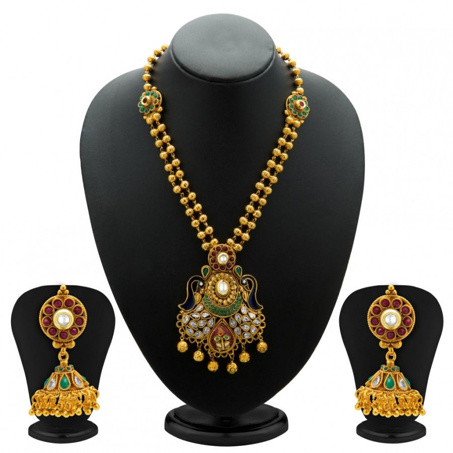 Buy Sukkhi Resplendent Antique Gold Plated Kundan Necklace Set for Women Online