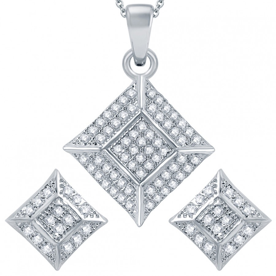 Buy Pissara Traditional Rhodium plated Micro Pave Setting CZ Pendant Set Online