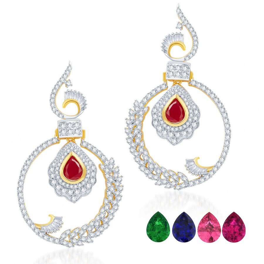 442260c159 Buy Pissara Intricately Gold and Rhodium Plated Cubic Zirconia Earrings  Online