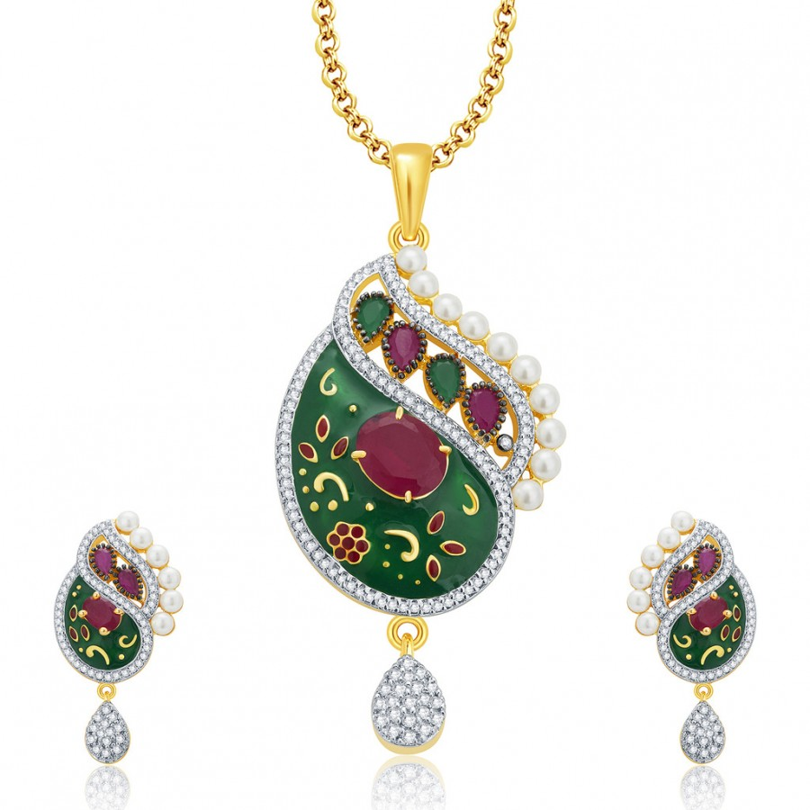 Buy Pissara Magnolious Gold And Rhodium Plated Ruby CZ Pendant Set For Women Online