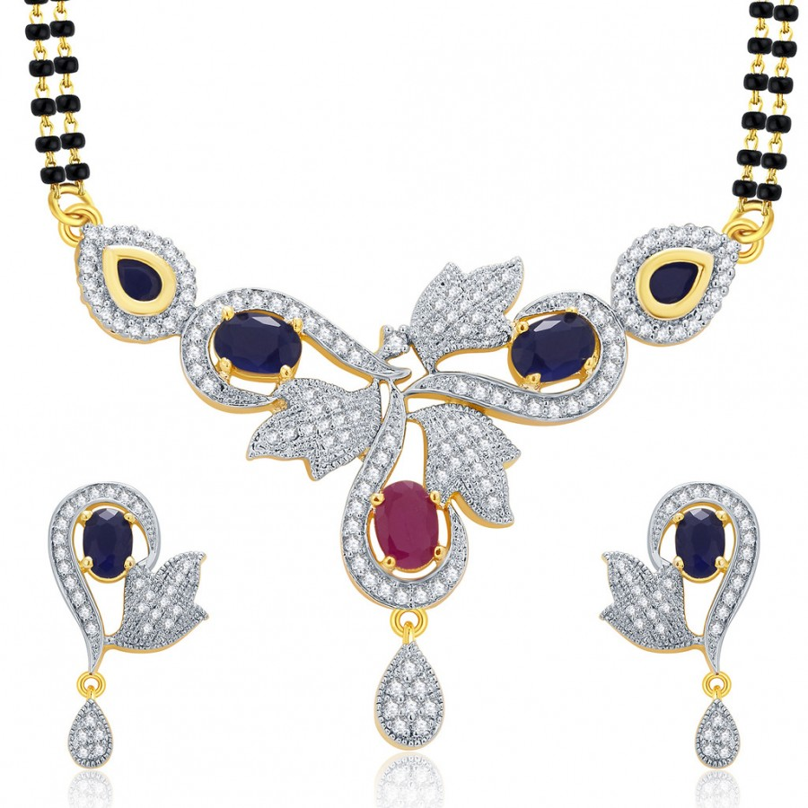 Buy Pissara Graceful Gold And Rhodium Plated Ruby CZ Mangalasutra Set For Women Online