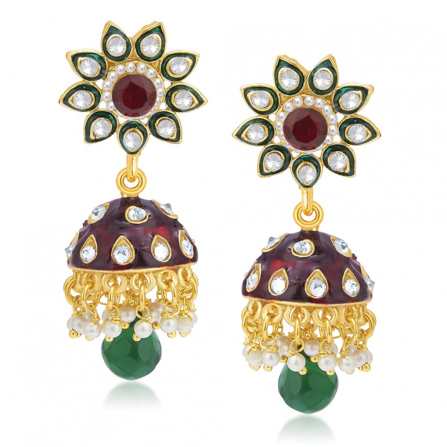 Buy Sukkhi Stunning Gold Plated AD Jhumki For Women Online