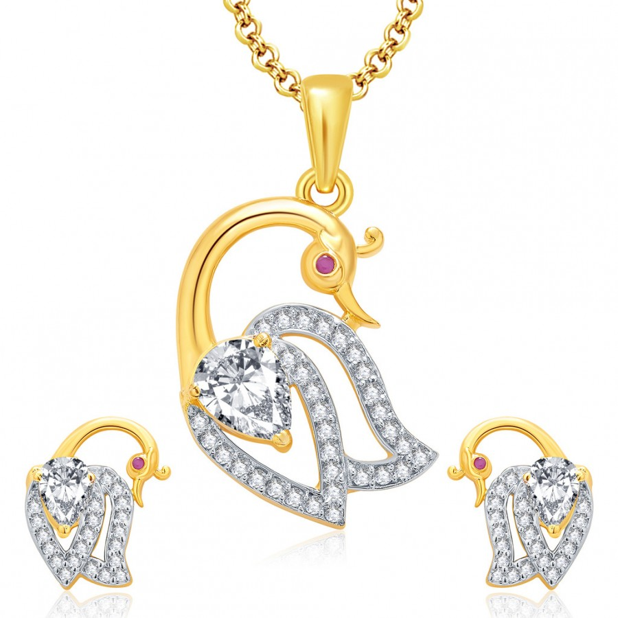 Buy Pissara Attractive Peacock Gold And Rhodium Plated Ruby CZ Pendant Set For Women Online