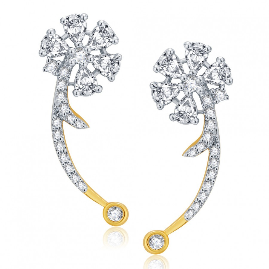 Buy Pissara Pride Gold And Rhodium Plated CZ Earcuff For Women Online