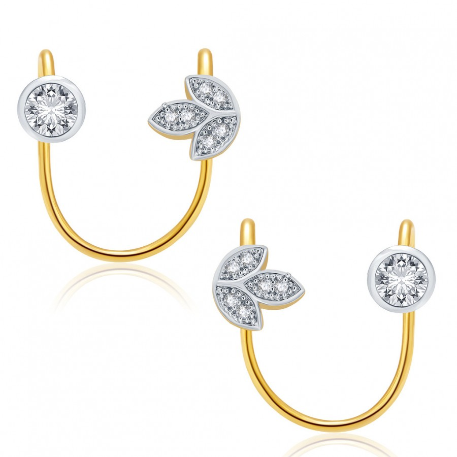 Buy Pissara Cheerful Gold And Rhodium Plated CZ Earcuff For Women Online
