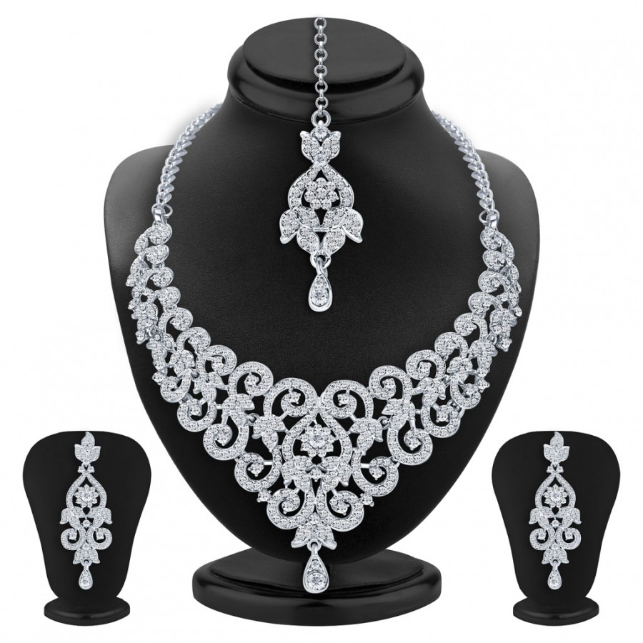 Buy Sukkhi Charming Rhodium Plated AD Necklace Set For Women Online