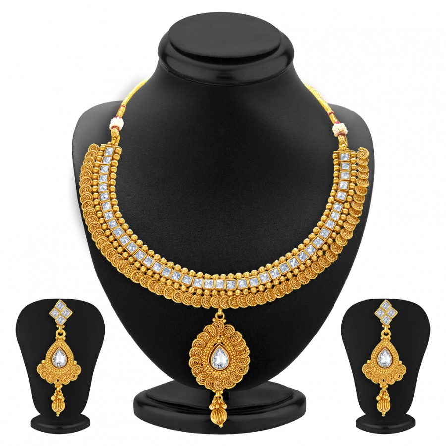 Buy Sukkhi Jalebi Design Gold Plated American Diamond Necklace Set For Women Online