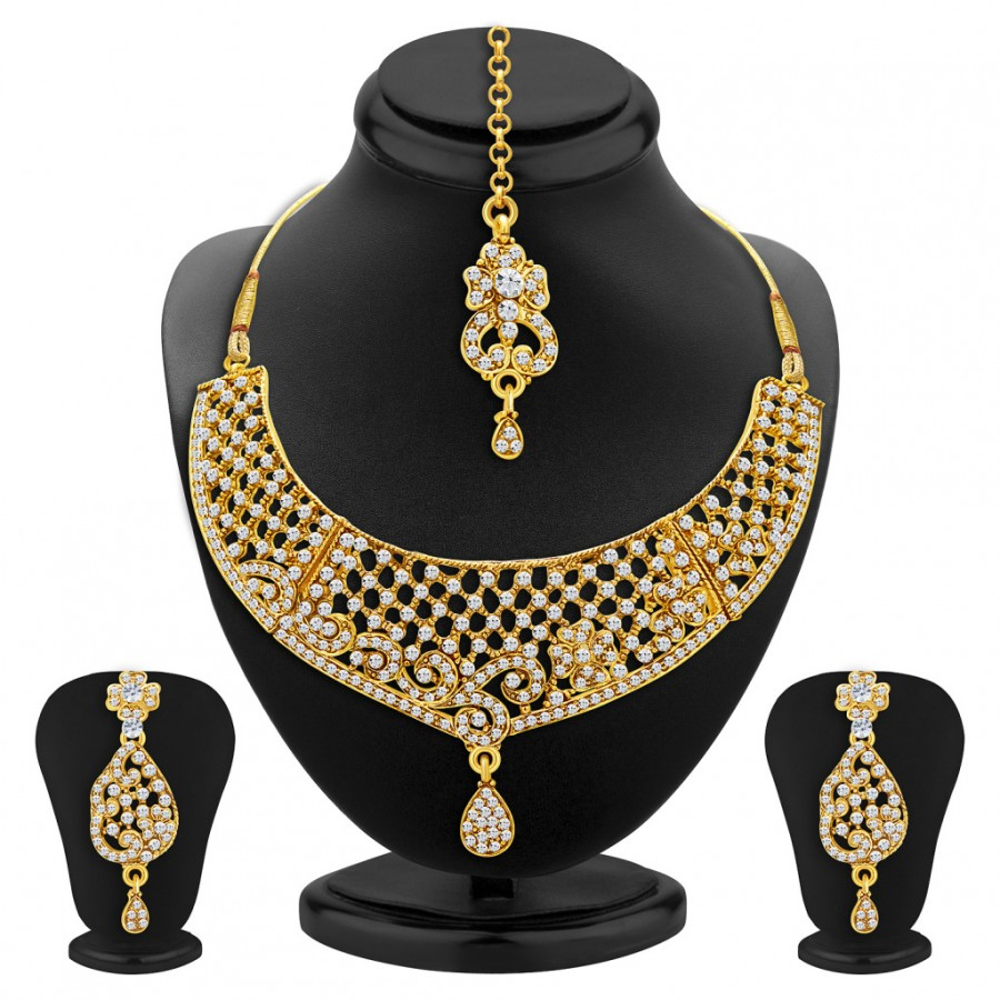 Buy Sukkhi Classy Gold Plated AD Necklace Set For Women Online