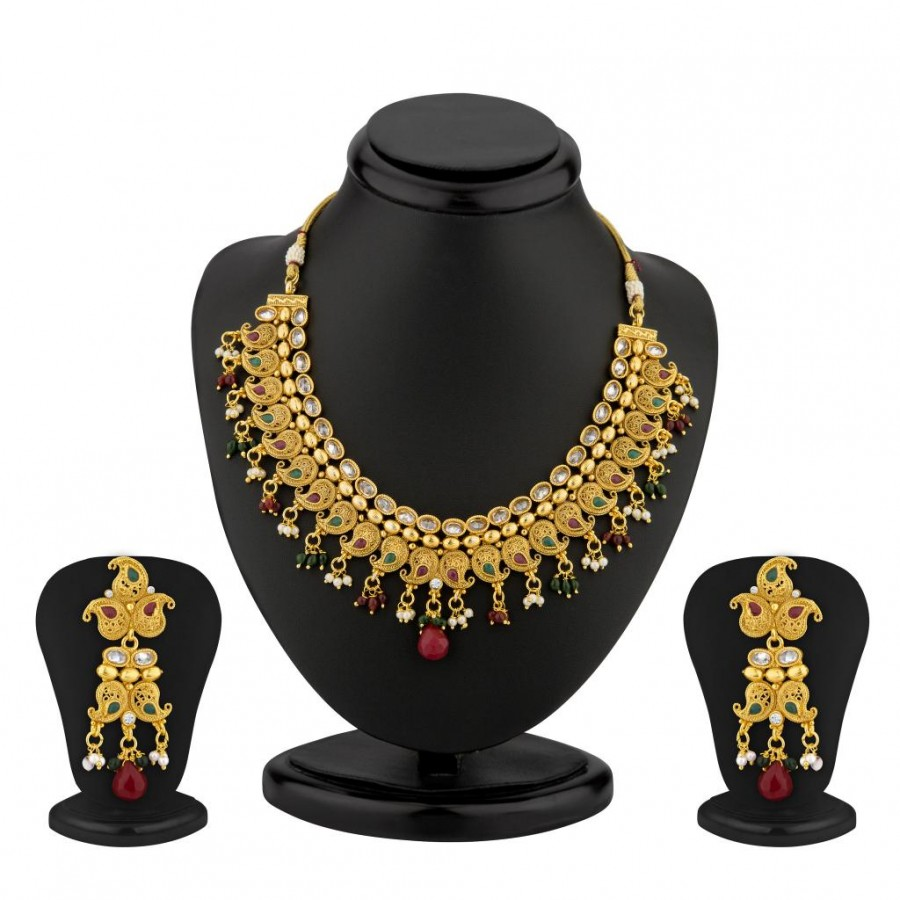 Buy Sukkhi Keri Design Gold Plated AD and Meenakari Antique Necklace Set Online