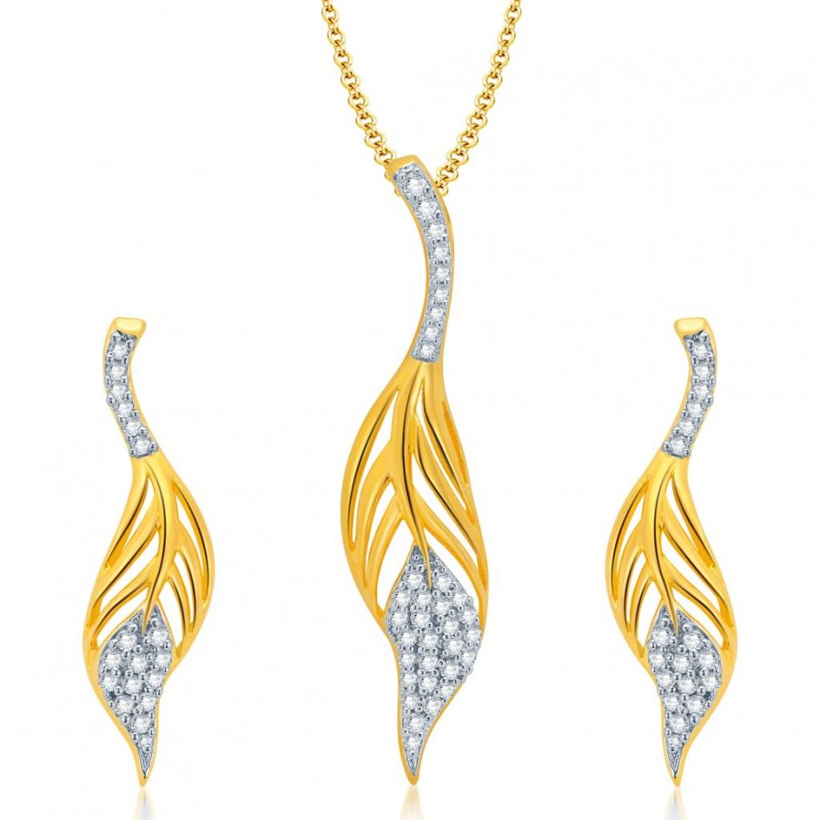Buy Pissara Gleaming Gold and Rhodium Plated CZ Pendant Set for Women Online