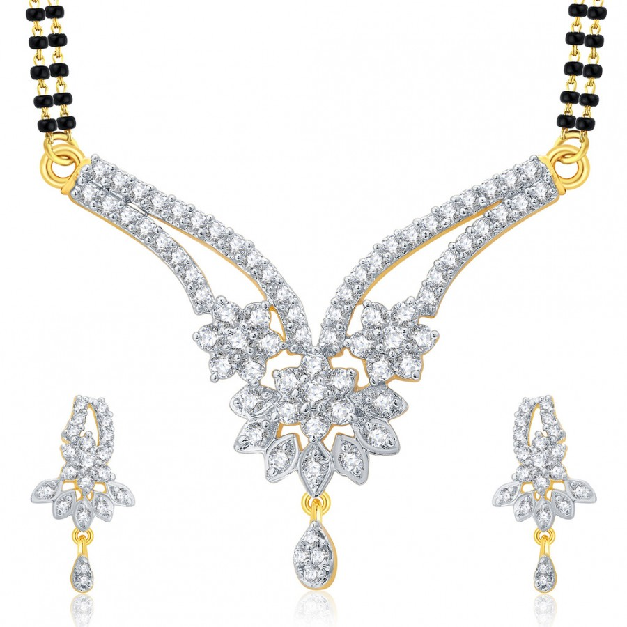 Buy Pissara Cheerful Gold And Rhodium Plated CZ Mangalasutra Set For Women Online