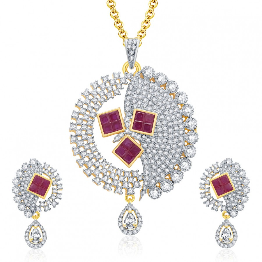 Buy Pissara Eye Candy Gold And Rhodium Plated Ruby CZ Pendant Set For Women Online