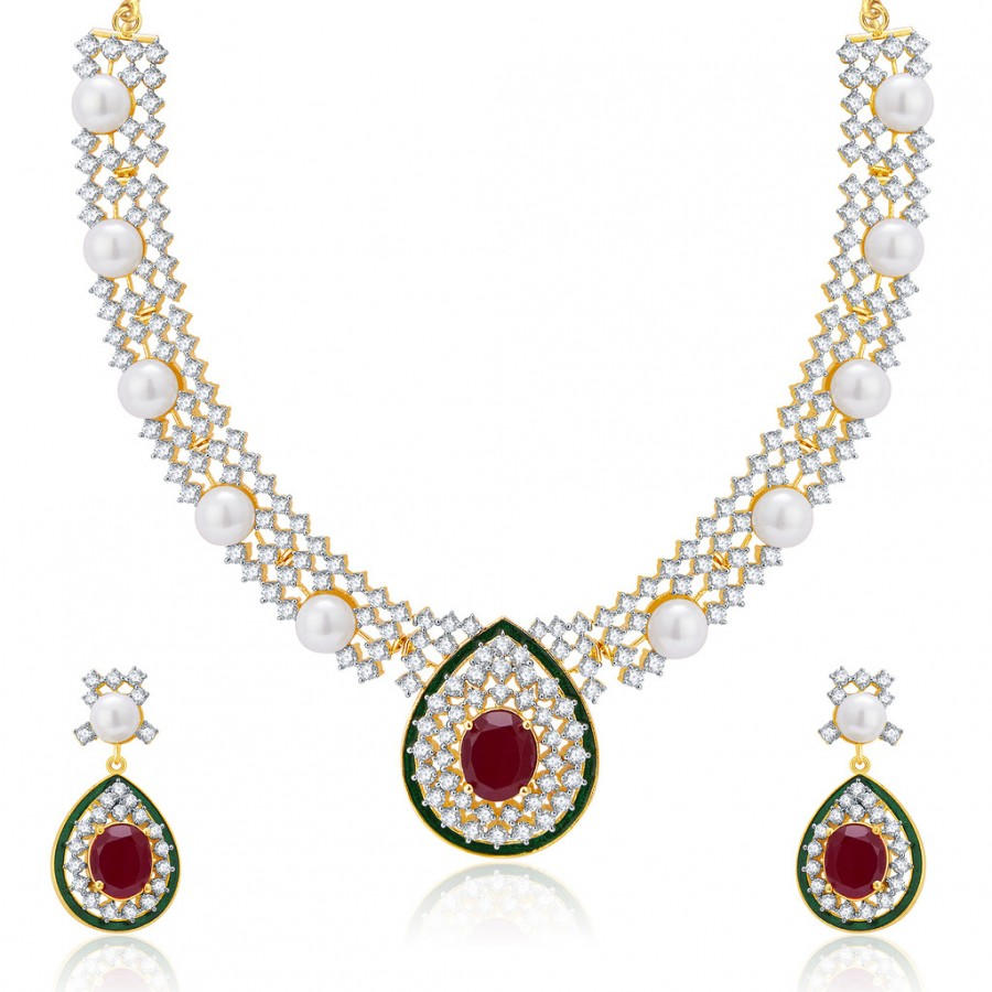 Buy Pissara Marvellous Gold And Rhodium Plated Ruby CZ Neklace Set For Women Online
