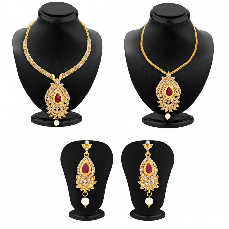 Buy Sukkhi Magnificent Necklace Set Detachable to Pendant Set with Chain and Set of 5 Changeable Stone For Women Online