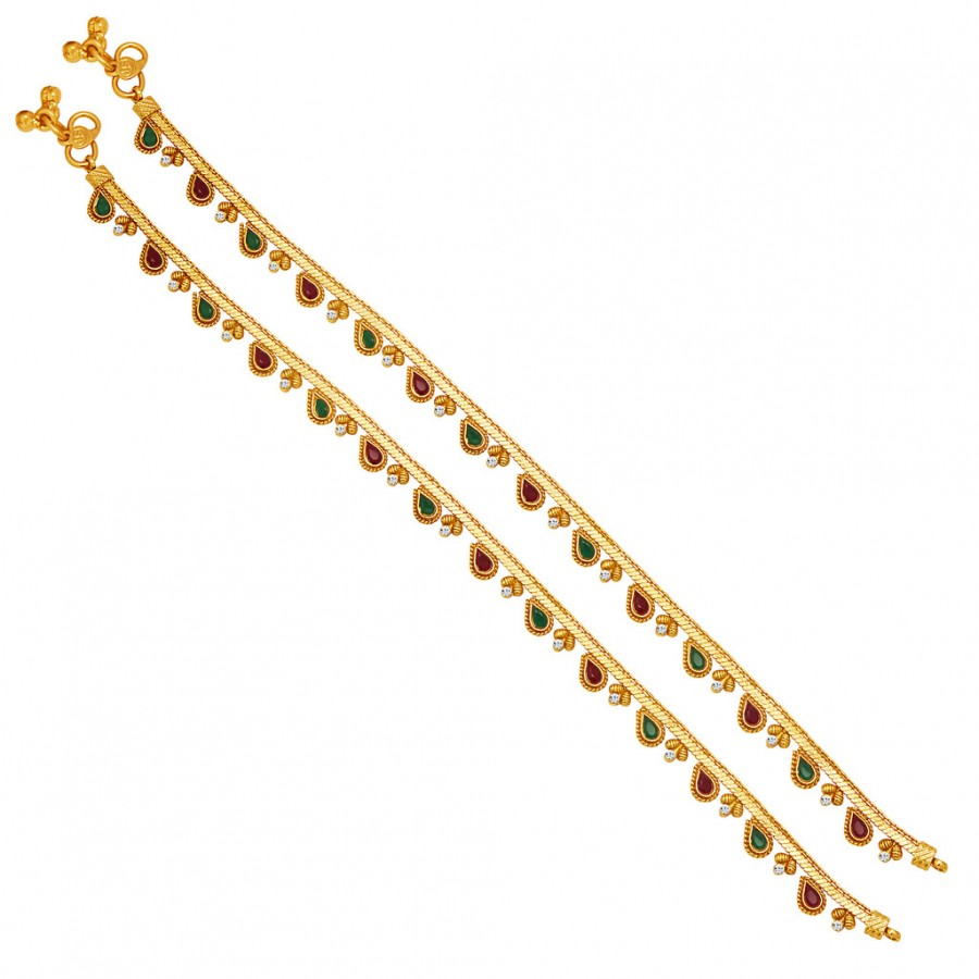 Buy Sukkhi Pleasing Gold Plated AD Anklet For Women Online
