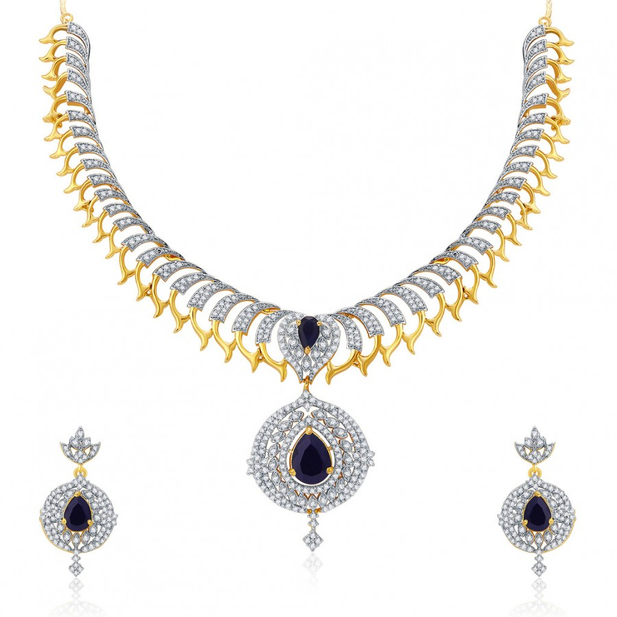 Buy Pissara Captivating Gold And Rhodium Plated CZ Neklace Set For Women Online