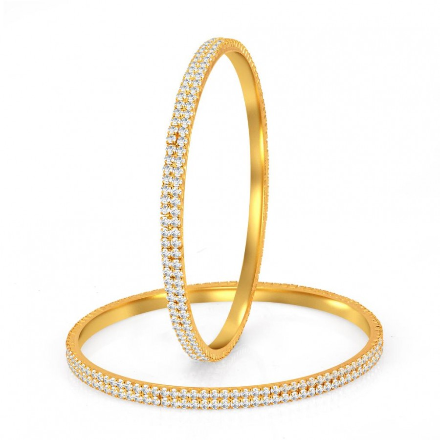 Buy Sukkhi Glimmery Gold Plated Set OF 2 Australian Diamond Two Line Bangle Online