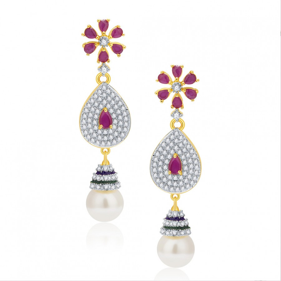 Buy Pissara Exciting Gold And Rhodium Plated Ruby CZ Earrings For Women Online
