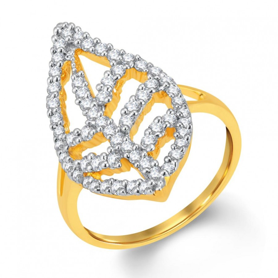 Buy Pissara Marquise Gold and Rhodium Plated Cubic Zirconia Ring Online