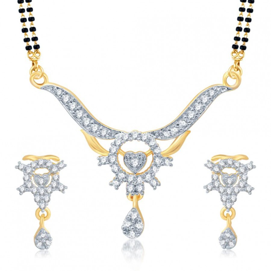 Buy Pissara Stunning Gold and Rhodium Plated Cubic Zirconia Stone Studded Mangalsutra Set Online
