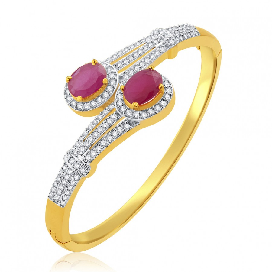 Buy Pissara Seductive Gold And Rhodium Plated Ruby CZ Kada For Women Online