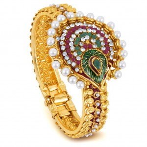 Buy Sukkhi Gold Plated multicolor stone flexible kada - 1132VK700 Online