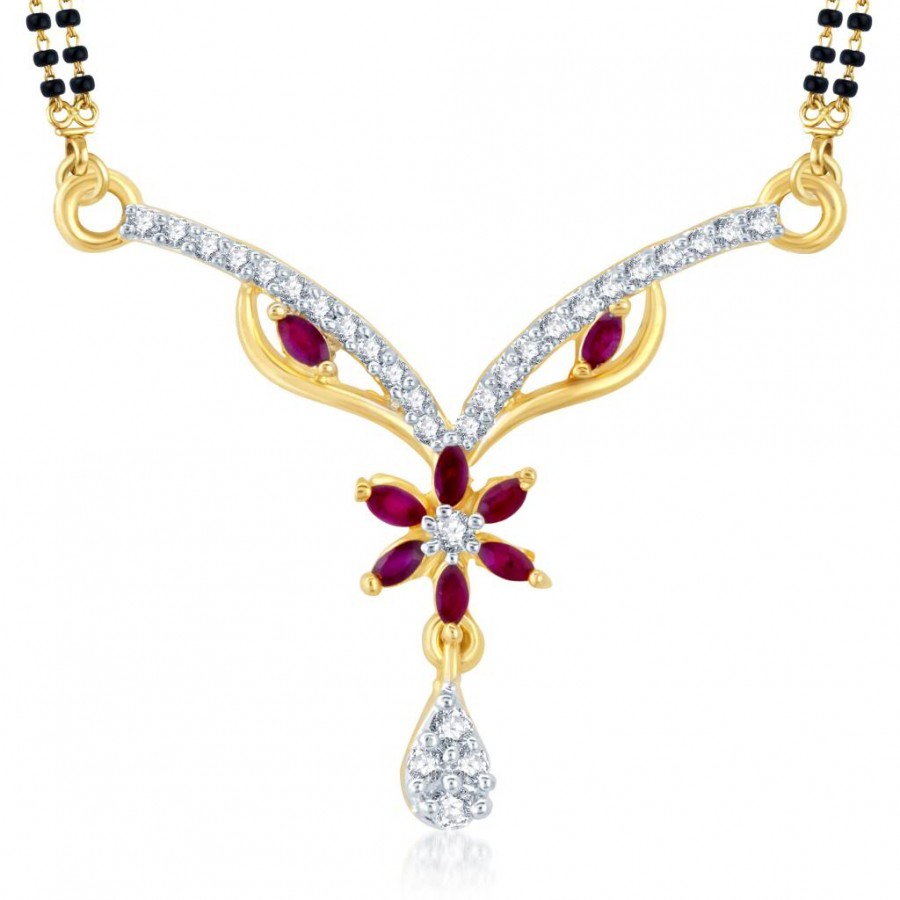 Buy Pissara Designer Gold and Rhodium Plated Cubic Zirconia and Ruby Stone Studded Mangalsutra Pendant Online