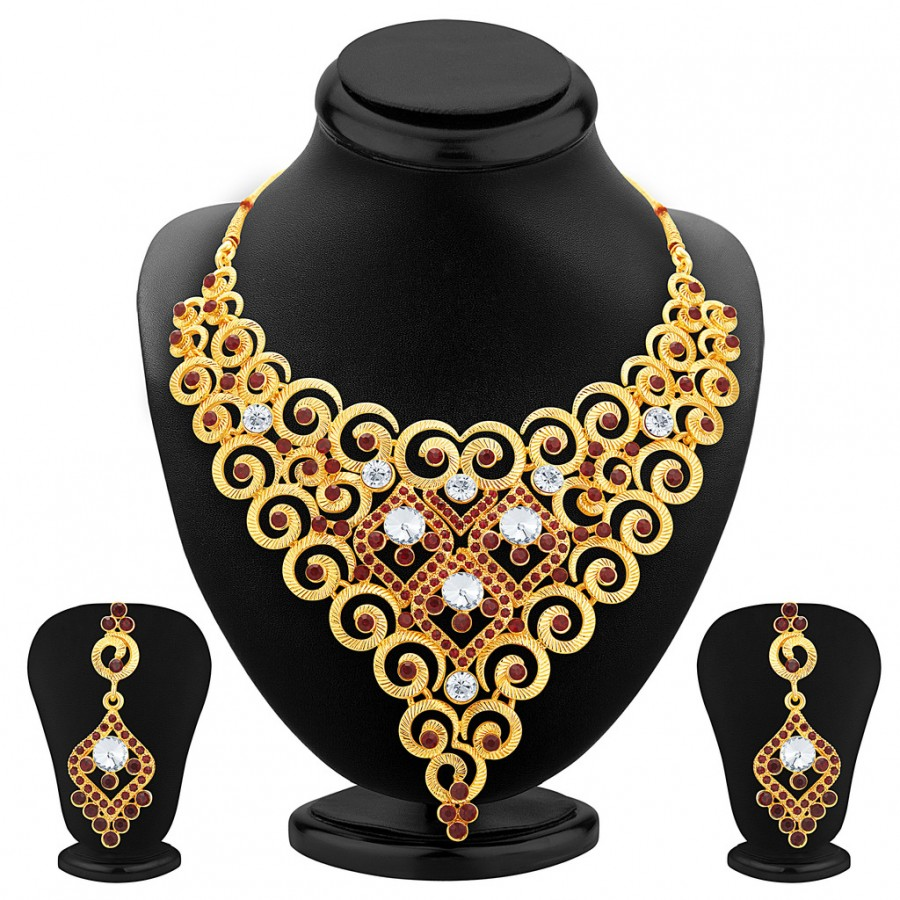 Buy Sukkhi Wavy Gold Plated AD Necklace Set For Women Online